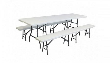e Ensemble table et 2 bancs pliants 240 cm